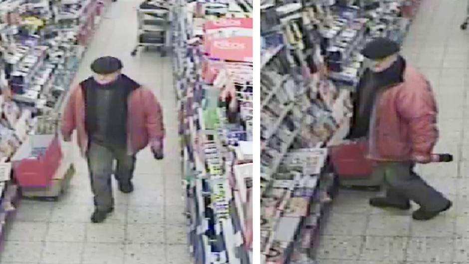 Das Bild einer Überwachungskamera zeigt den mutmaßlichen Räuber in einem Supermarkt in Hannover