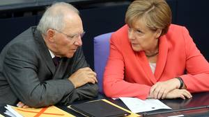 Merkel und Schäuble im Bundestsga