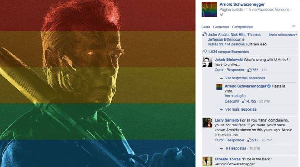 Gut gekontert: Arnold Schwarzneggers schlagfertige Antwort auf den homophoben Kommentar kommt bei der Facebook-Gemeinde gut an