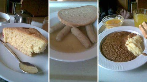 Kirschkuchen ohne Kirschen, Würstchen in Essig und püriertes Irgendwas: Jürgens Essen bietet keinen großen optischen Anreiz. Die Getränke zum Essen sind meist süß, etwa Himbeersirupwasser.