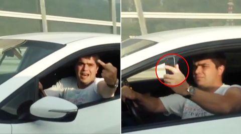 Russischer Verkehrsraudi verliert Handy nach Nötigung