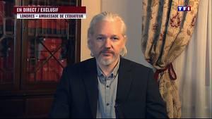 Wikileaks-Grüner Jullian Assange gibt im französischen Fernsehen ein Interview