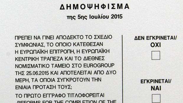 Der Wahlschein zum Referendum in Griechenland