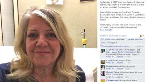 Die Frau, die ihr Gedächtnis verloren hat, bittet nun auf Facebook um Hilfe bei der Suche nach ihrer Identität