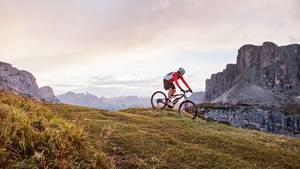 Begraste Passhöhe mit Biker