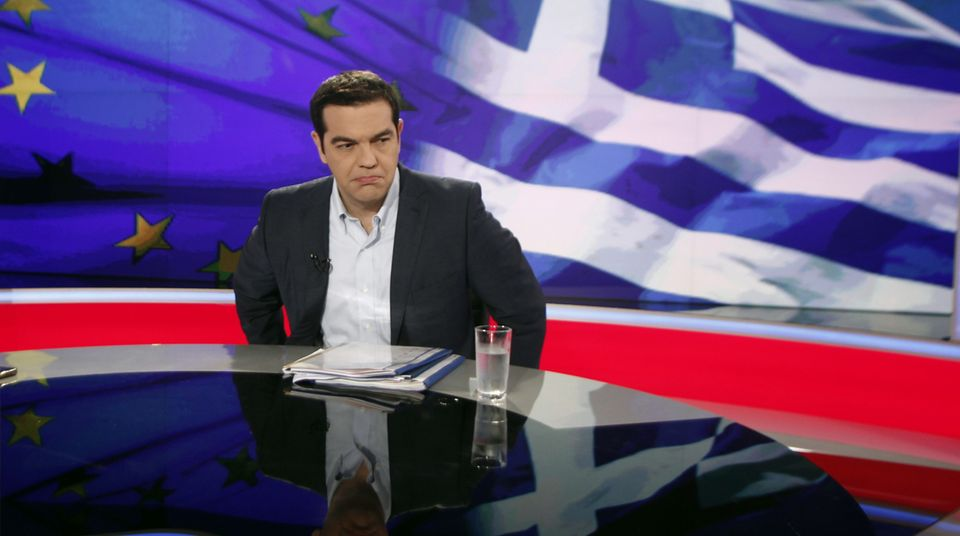 Alexis Tsipras im Fernsehstudio