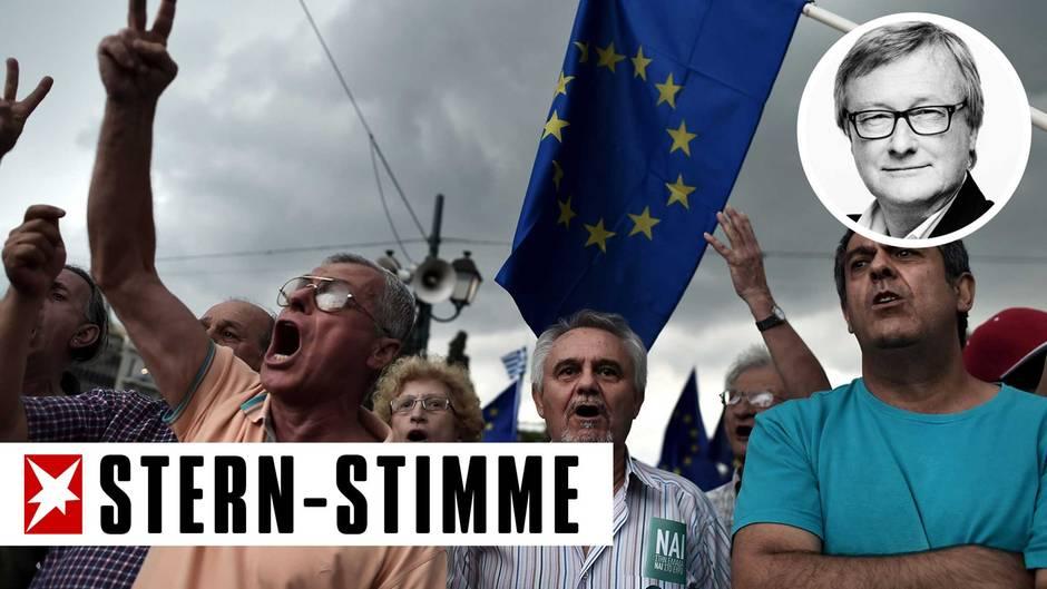 Seit Tagen protestieren Pro-Euro-Demonstranten mit Flaggen der Europäischen Union vor dem Athener Parlament