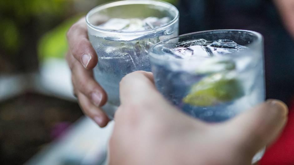 Ein Krug mit Tonic Water und frischer Zitrone und Limette