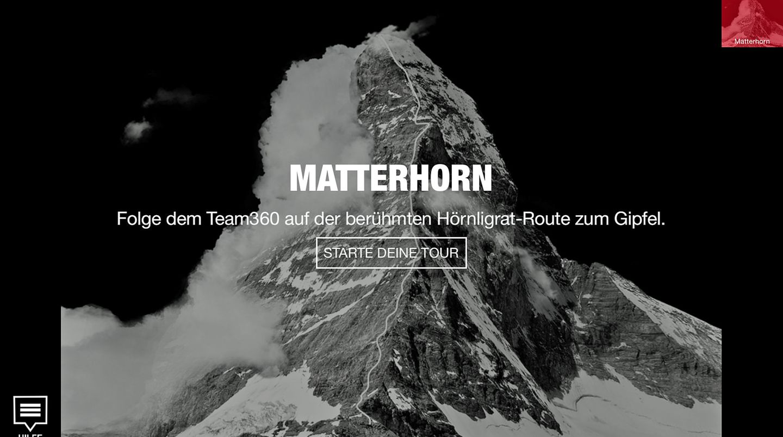 Startbildschirm zeigt das Matterhorn