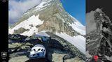 Den große Berg mit dem Hörnligrat vor Augen: Über das Menü am rechten Bildrand kann der User im Eiltempo zu den einzelnen Stationen springen, von der Hörnlihütte bis zum Gipfel.