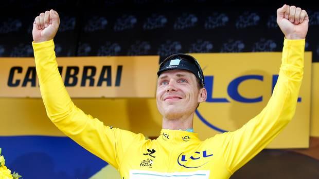 Tony Martin im Gelben Trikot nach der vierten Etappe der Tour de France