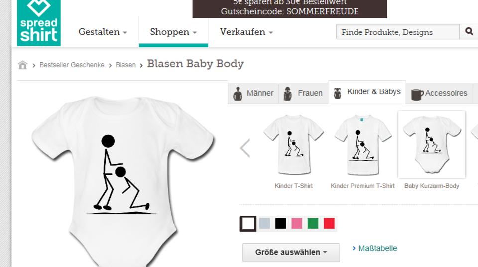 Screenshot des Online-Shops zeigt einen weißen Babybody mit zwei schwarzen Strichmännchen beim Fellatio.