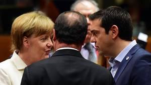 Angela Merkel und Alexis Tsipras auf dem Krisengipfel