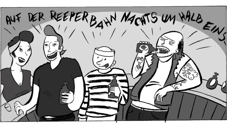 Vier Gestalten mit Bierflaschen in der Hand singen