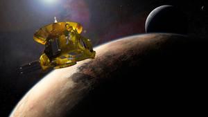 """Nah, näher, """"New Horizons"""": Die Raumsonde hat sich demPlaneten Pluto heute bis auf 12.000 Kilometer genähert.Im Hintergrund ist Charon, der größte Mond des Planeten, zu sehen. (Symbolfoto)"""