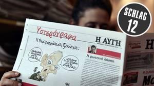 Griechische Zeitung mit Schäuble-Karikatur