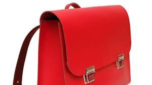 Roter Retro-Schulranzen aus Leder