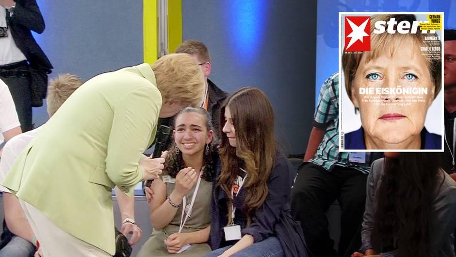 Die Worte von Angela Merkel brachten Reem, ein Flüchtlingsmädchen palästinensischer Herkunft, zum Weinen. Hier versucht die Bundeskanzlerin zu trösten