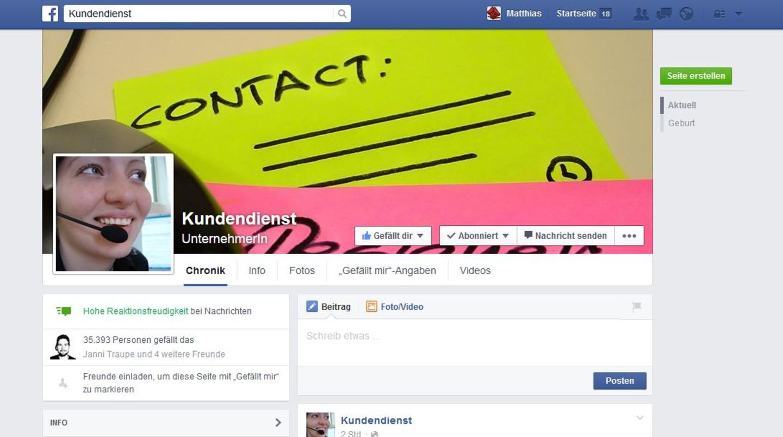 """Die Facebook-Seite des """"Kundendienst"""""""