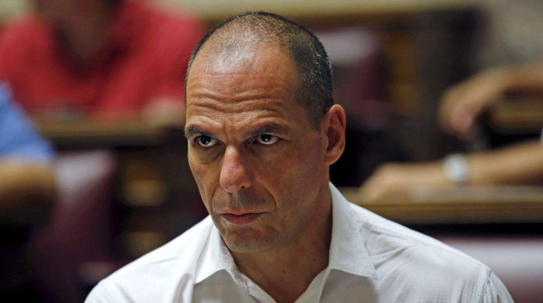Der ehemalige griechische Finanzminister Yanis Varoufakis sitzt im Parlament in Athen