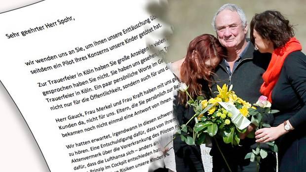 In einem offenen Brief der Hinterbliebenen des Germanwing-Unglücks wird Konzern-Chef Spohr scharf kritisiert