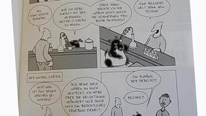 Schlicht gezeichneter Cartoon, in dem ein Tapir mit Reagenzgläsern hantiert, im Dialog mit einem Mann.