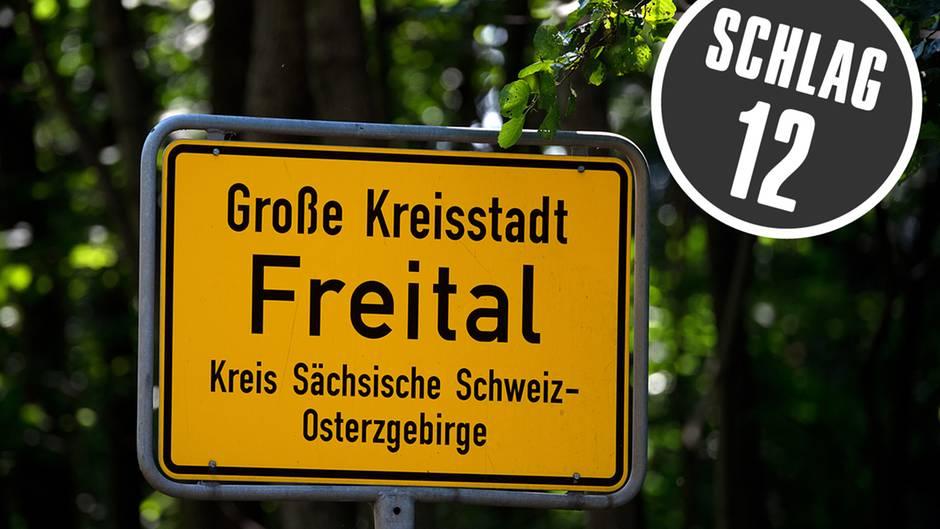 Das Ortsschild von Freital