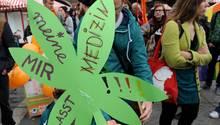 Eine Demonstration für die Legalisierung von Cannabis