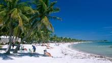 Touristen sitzen unter Palmen an einem Strand von Key West