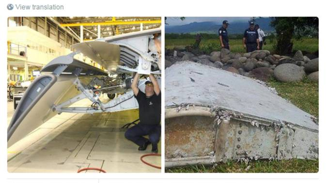 Bilder der verschwundenen Maschine und der Fund auf La Reunion