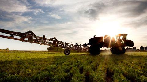 Ein Traktor versprüht Glyphosat auf einem Feld