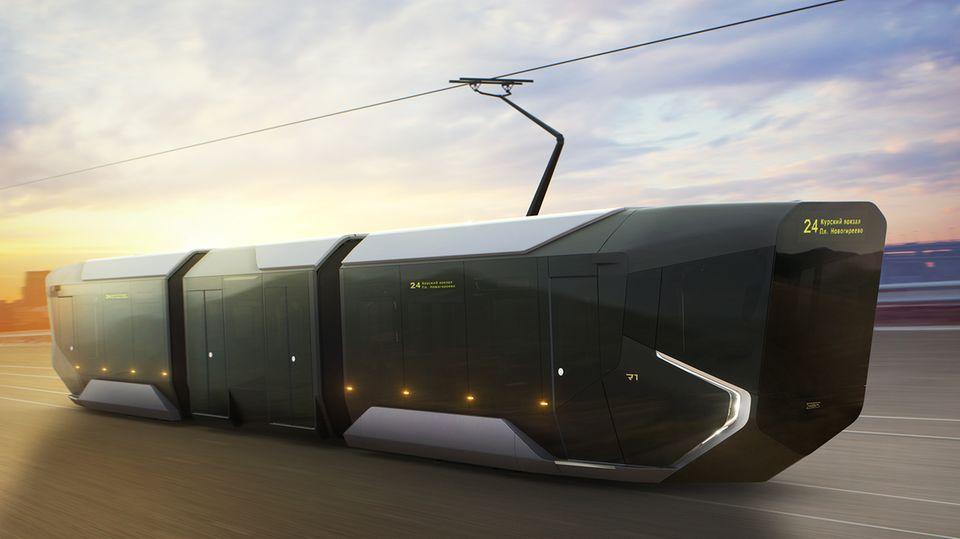 Ein Straßenbahn wie aus einem Science-Fiction-Film