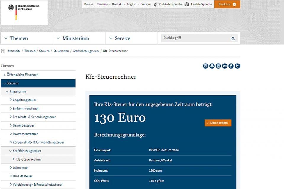 Nur zehn Prozent mehr bedeuten 26 Euro mehr Kfz-Steuer im Jahr.