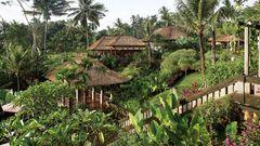 Grüner Hang mit Wohnvillas