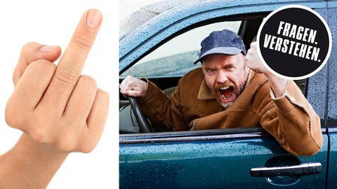 Collage: Hand zeigt Mittelfinger, wütender Autofahrer