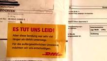 """Paketaufkleber von DHL: """"Es tut uns leid"""""""