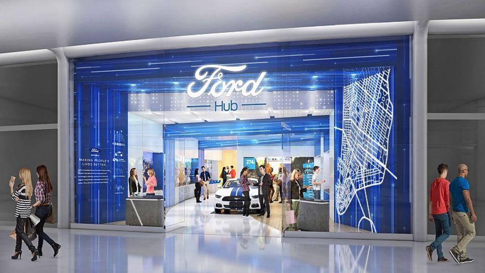 Ein FordHub erinnert stark an einen Apple-Store.