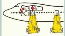 9. Wenn möglich nutzen Sie bei einer Evakuierung die Ausgänge vorn oder hinten, die Nottüren über den Tragflächen sind schmaler und verlangsamen das Aussteigen.