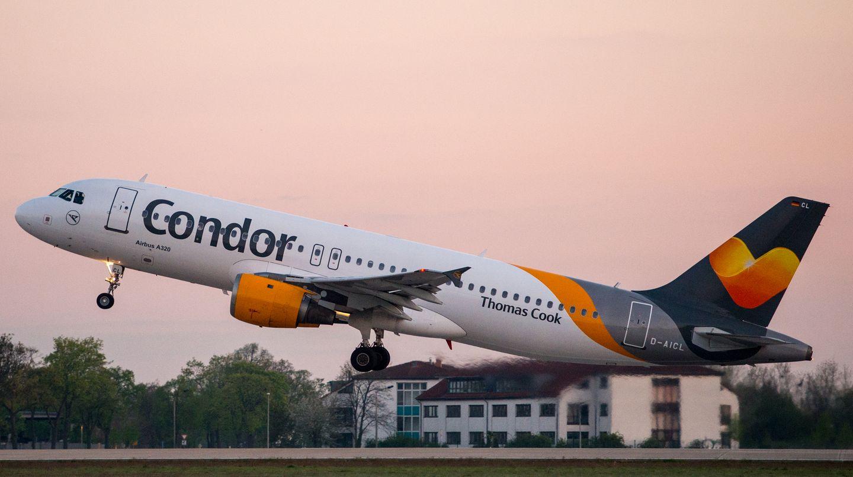 So sahen die Condor-Flugzeuge unter der Ägide von Thomas Cook aus: mehr Grau und Gelb auf dem Rumpf. Statt eines Vogelsymbols sah man an der Heckflosse ein stilisiertes gelbes Herz.
