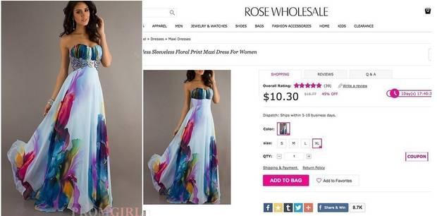 Das Bild mit dem Kleid wurde dem Netz kopiert und in den Katalog eingeführt.
