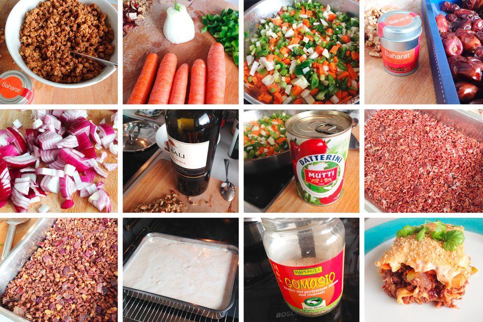 Einfach vegan: So entstand der Auflauf: ich hatte noch reichlich gekochten, roten Vollkornreis vom Frühstück übrig und im Kühlschrank gab es noch einiges an Gemüse: Fenchel, Karotten, eine halbe Paprika und Frühlingszwiebeln. Außerdem fand ich noch eine Dose Tomaten, eine angebrochene Packung Sojaschnetzel, einen Rest Lasagneplatten, Nüsse, Cashewmus und Datteln. Meine Idee war, einen Auflauf daraus zu kochen: Sojaschnetzel mit reichlich Baharat (ca 2 TL) und Salz vermischen. Mit kochendem Wasser aufgießen und ziehen lassen. Gemüse anbraten. Sojaschnetzel mit viel Knoblauch scharf anbraten, braun werden lassen und mit Rotwein ablöschen. Mit gehackten Walnüssen und Datteln vermengen. Reis, Sojahack, eine Lage Lasagne und Gemüse schichten. Aus Cashewmus und etwas Wasser im Mixer eine dicke Cashewmilch schlagen, Mehl mit etwas Öl anschwitzen und mit der Cashewmilch Bechamelsauce herstellen. Mit Salz, Pfeffer und Muskat abschmecken und auf den Auflauf gießen. Ab in den Ofen. Nach ein paar Minuten mit Sesam bestreuen und dann backen, bis die Oberfläche goldbraun wird.