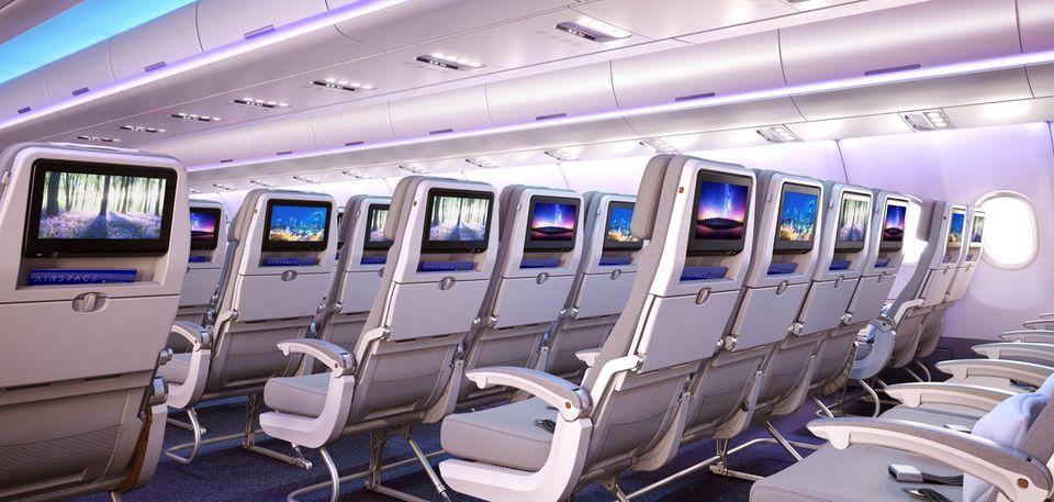 Follow Me: Sitze in der Economy Class mit großen Bildschirmen © Airbus