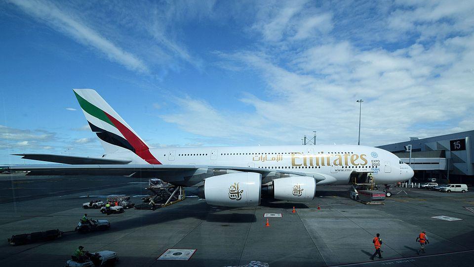 Follow Me: Am Ziel: Der erst ein Jahr alte Airbus A380, mit dem der Erstflug von EK 448 durchgeführt wurde © Till Bartels