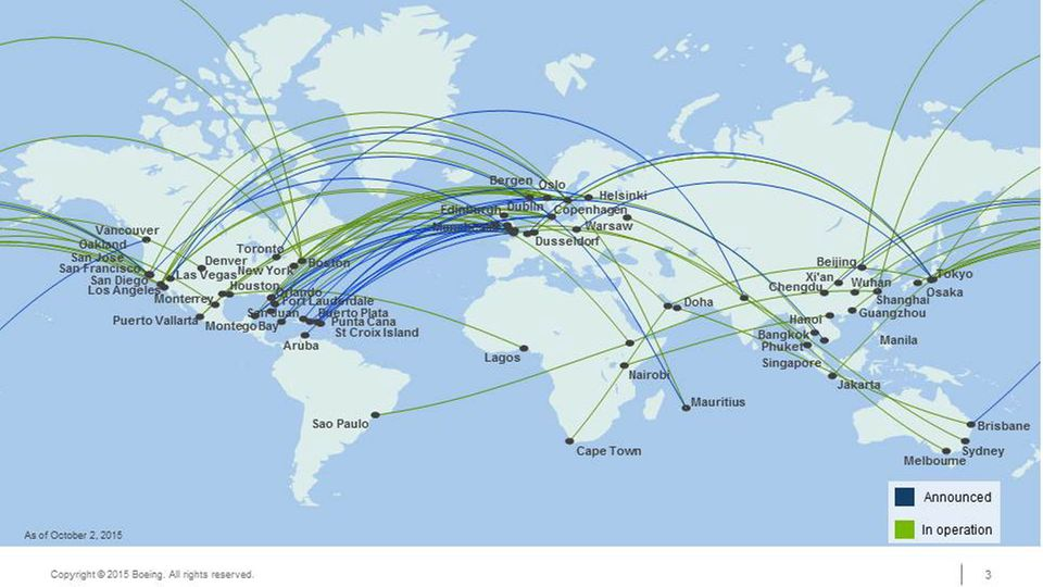 Follow Me: Der Dreamliner sorgt für neue Routen: 75 Punkt-zu-Punkt-Verbindungen entstehen.