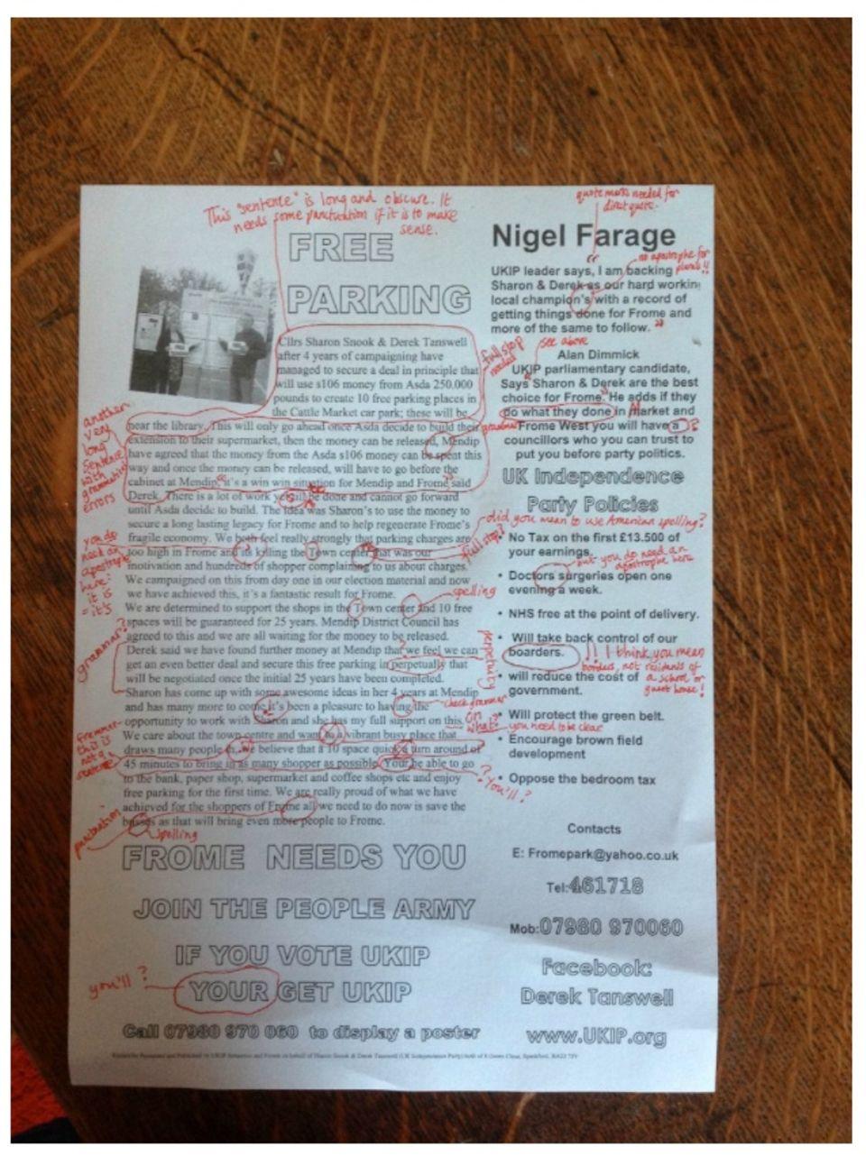 Last Call: Nach Diktat verreist. Ein UKIP-Flugblatt, das einer Lehrerin in die Hände fiel…