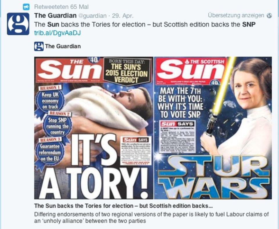 Last Call: Die Sun, bipolar. In Schottland links, im Rest des Landes rechts