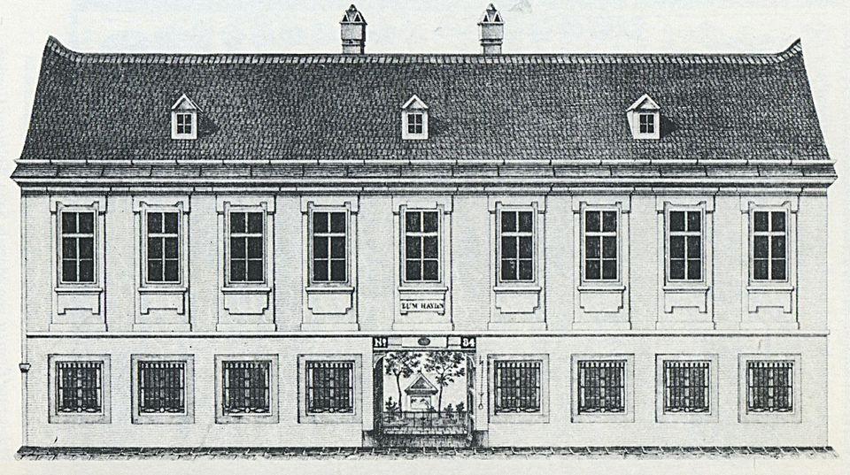 Gutes aus dem Küchengarten: Haydn-Haus um 1840. Durch das Tor sieht man einen Garten. Quelle: Wikipedia.