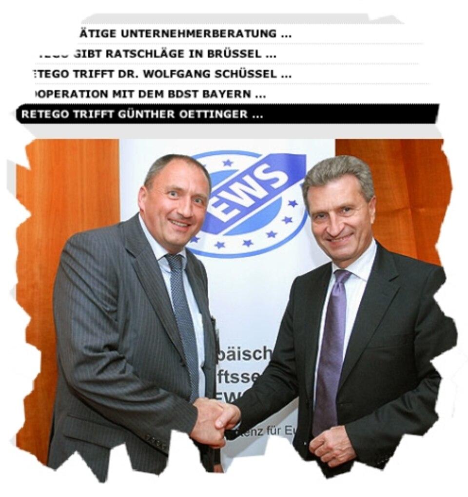 Der Investigativ-Blog: Ex-Prevent-Geschäftsführer Peter Wiedemann (links) beim Shakehands mit EU-Kommissar Günther Oettinger, Quelle: www.retego.eu