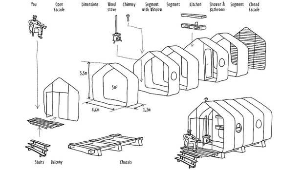 wikkelhouse dieses haus besteht aus pappe und ist trotzdem wetterfest. Black Bedroom Furniture Sets. Home Design Ideas