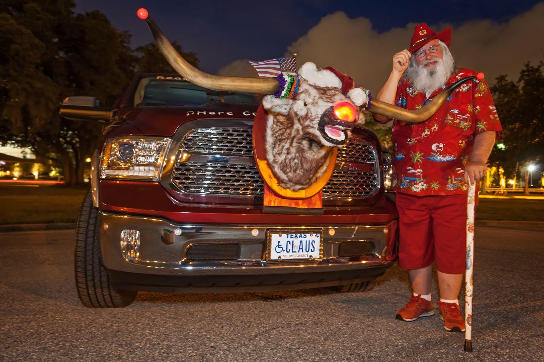 Santa Jim und Raster the Red Nosed Reinsteer 2014 auf der Santa Celebration in Tampa, Florida.